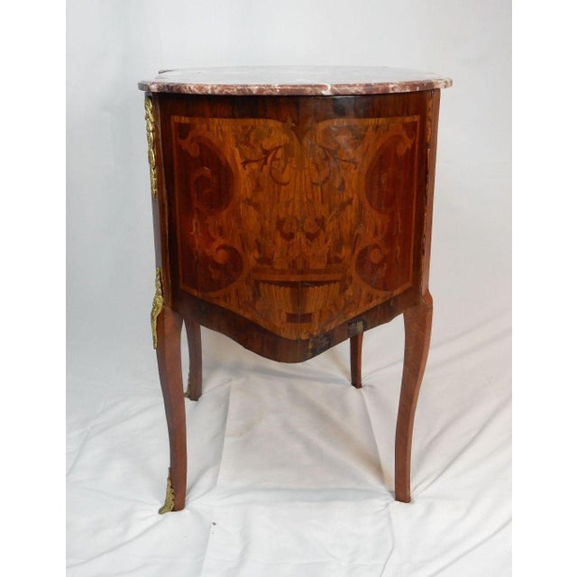 19th C. Italian Marquetry Marble Top Inlaid Table For Sale - Image 9 of 11