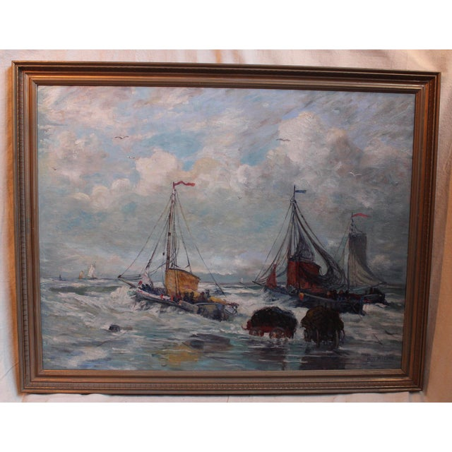 Antique Harbor with Boats Painting - Image 2 of 6