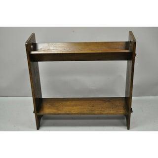 Vintage Arts & Crafts Mission Oak Wood Style D Handle Shelf Preview