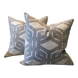 Millbrook Gray & Charcoal Pillows - A Pair For Sale