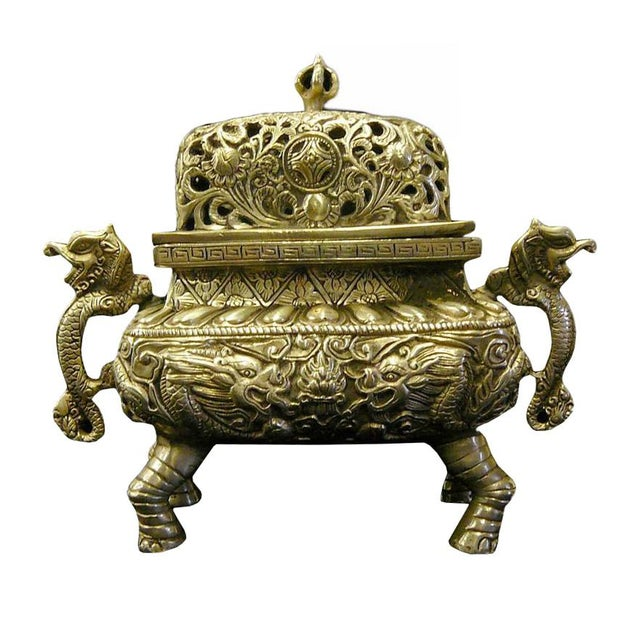 Chinese Silver Pewter Color Dragon Incense Burner Holder For Sale In San Francisco - Image 6 of 6