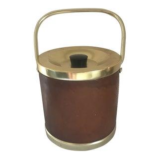Italian Leather & Brass Ice Bucket For Sale