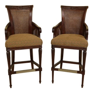 Pair of French Louis XVI Style Carved High Bar Stool Chairs For Sale