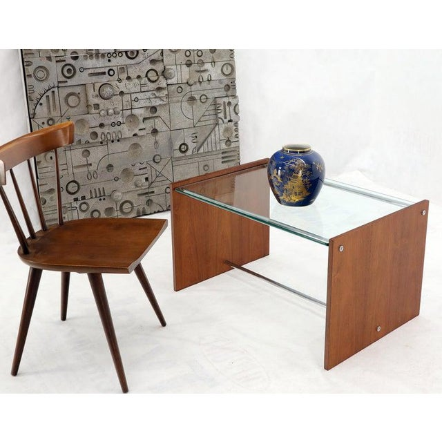 Mid-Century Modern Mid-Century Danish Modern Rosewood Chrome Glass Top Coffee Side Table For Sale - Image 3 of 11