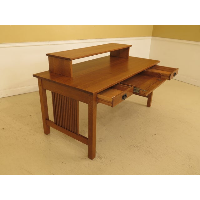 1990s Vintage Stickley Mission Oak Executive Desk For Sale In Philadelphia - Image 6 of 13