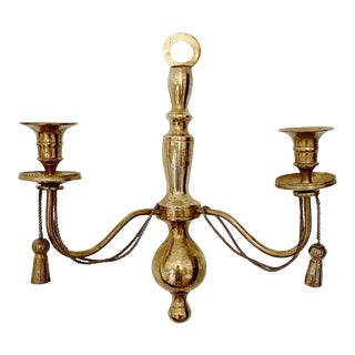 Vintage Brass Wall Scone Candle Holder For Sale