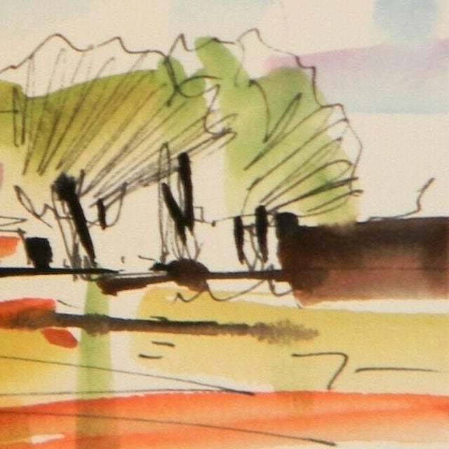 "Jose Trujillo Original Expressionist Watercolor Painting - Landscape House Art - 3x6"" For Sale - Image 4 of 5"