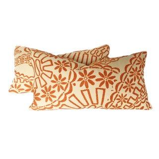 Orange Crewel Work Geometric Lumbar Pillows - A Pair
