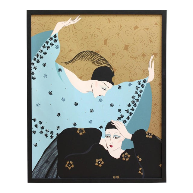 Weimar Deco Style Women Illuminated Gold Painting on Paper - Image 1 of 5