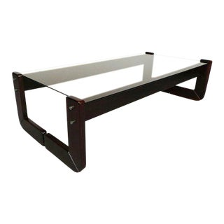 Percival Lafer Mid Century Modern Brazilian Rosewood & Tinted Glass Coffee Table For Sale