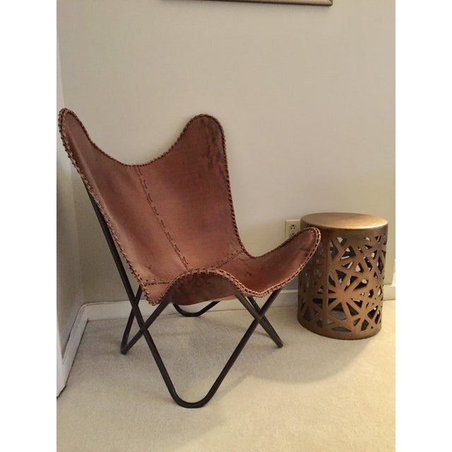 Tan Leather Butterfly Chair - Image 3 of 4