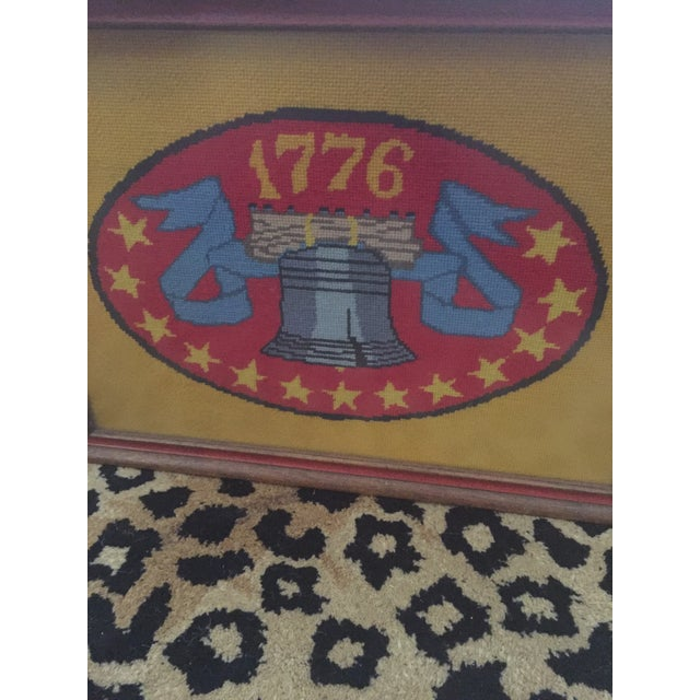Vintage Americana Patriotic Liberty Bell 1776 Framed Needlepoint Art For Sale - Image 5 of 6