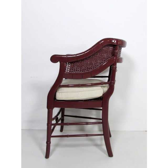 Faux Bamboo & Cane Lacquered Club Chair - Image 7 of 8