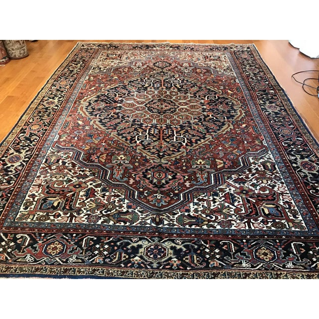 Islamic Antique Persian Heriz Rug - 8′10″ × 11′7″ For Sale - Image 3 of 7