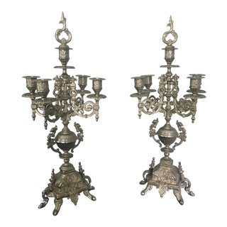 20th Century Baroque Gold Candelabras - a Pair