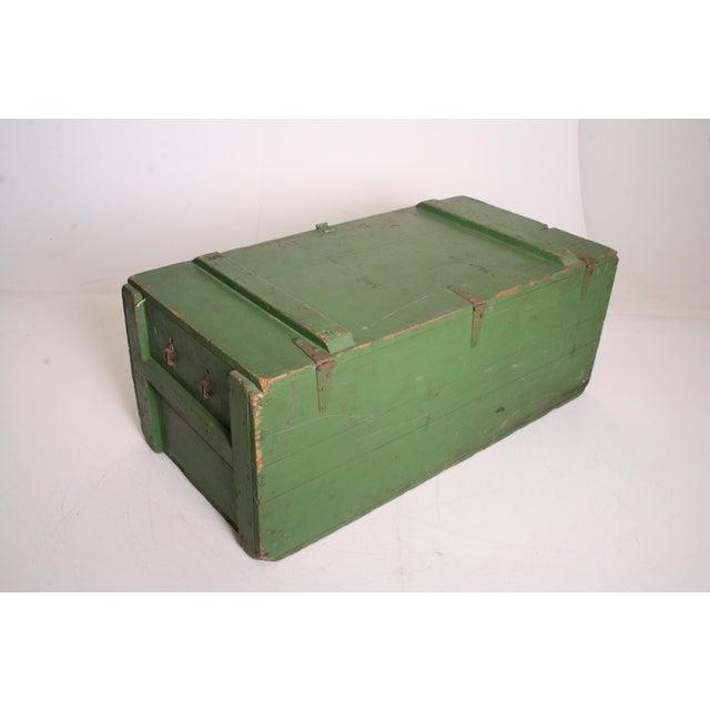 Vintage Military Green Wood Foot Locker - Image 5 of 11