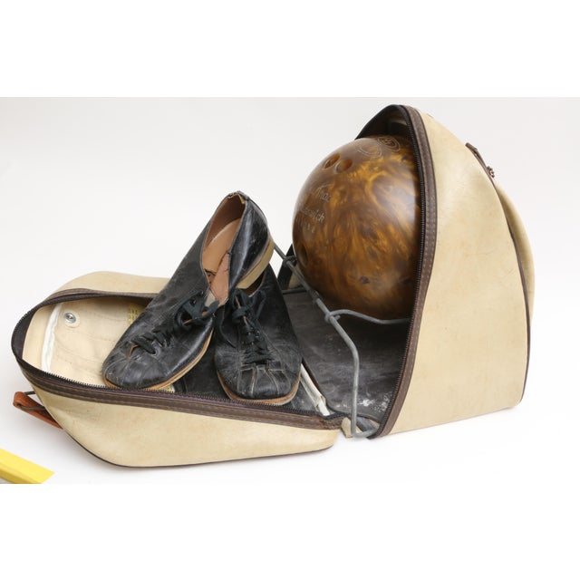 Vintage Brunswick Wind Jammer Bowling Carrying Bag, Ball, & Shoes Set For Sale - Image 4 of 5