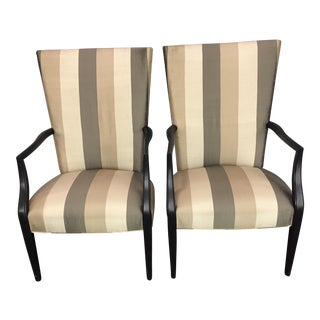 Vintage Beige & Olive Striped Accent Dining Chairs - A Pair