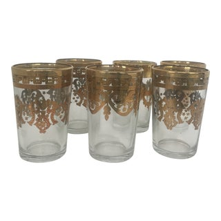 Vintage Gilt Moroccan Bar Glasses For Sale