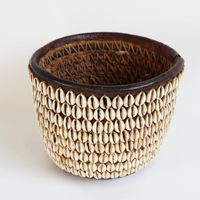 Vintage Nigerian Cowry Shell Basket - Image 3 of 5
