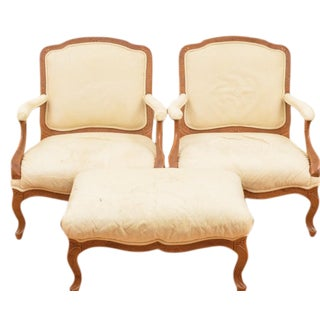 Bergere Chairs & Ottoman - Set of 3
