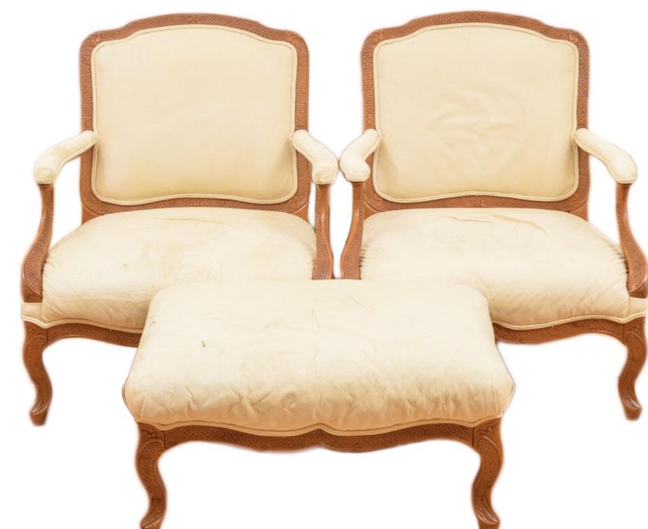 Bergere Chairs U0026 Ottoman   Set Of 3