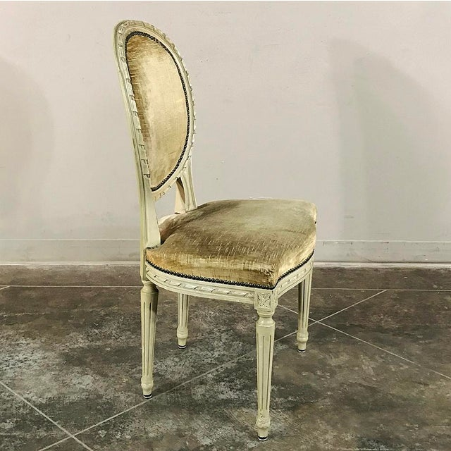 Set of 6 Antique French Painted Louis XVI Chairs For Sale - Image 12 of 13