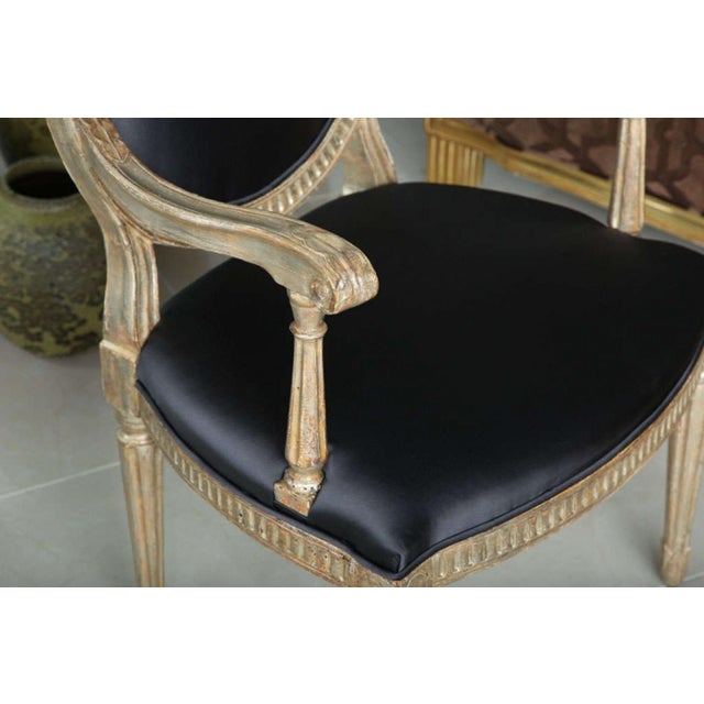 Rare Set of Four Italian Neoclassic Silver Gilt Armchairs For Sale In Miami - Image 6 of 8