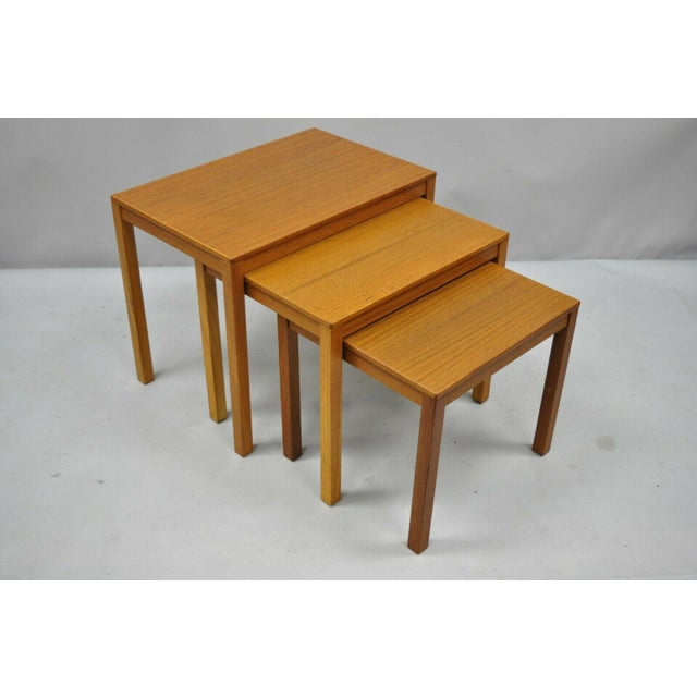 1960s Mid Century Modern Bent Silberg Teak Nesting Stacking Side Tables - Set of 3 For Sale - Image 9 of 10