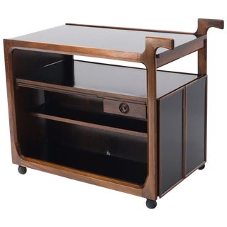 Multifunctional Danish Rosewood Drop Leaf Bar Tea Cart Mid-Century Modern For Sale