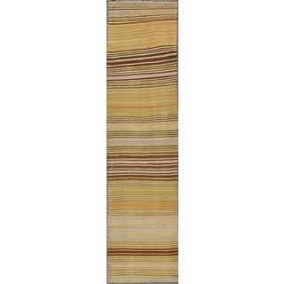 1940's Vintage Turkish Kilim Flat Weave Runner-2'5 X 10'1 For Sale