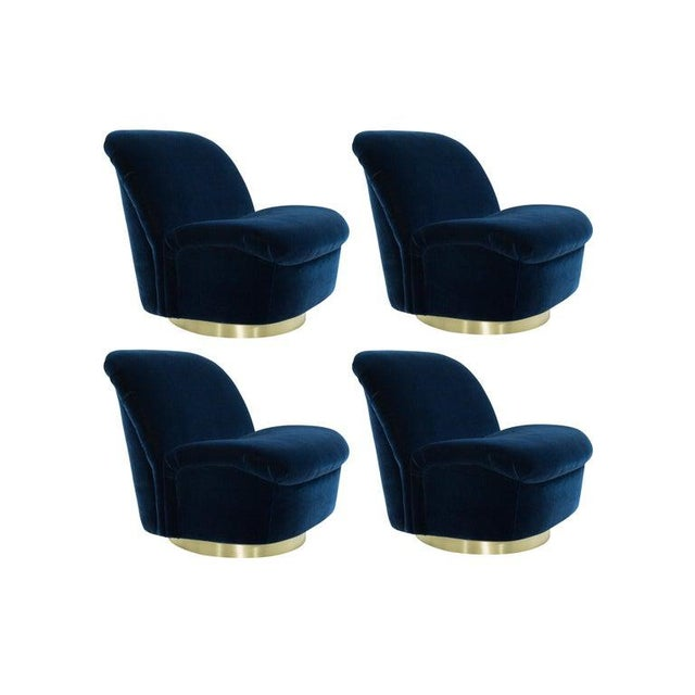 Navy Blue Mohair and Brass Seating Suite by Directional, 1960s - Set of 4 For Sale - Image 9 of 9