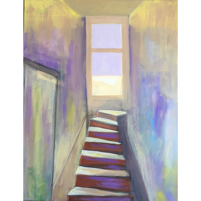 """Abstract Modern """"Stairway to Somewhere"""" Painting For Sale - Image 3 of 3"""
