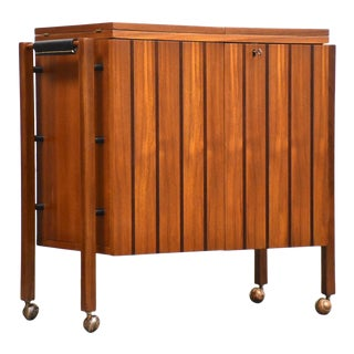 Scandinavian Modern Teak Rolling Bar Cart For Sale