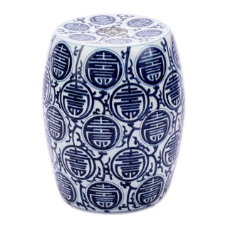 Blue & White Longevity Porcelain Garden Stool For Sale