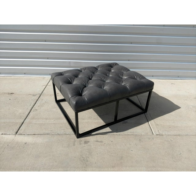 Gray Modern Gambrell Renard West End Leather Ottoman For Sale - Image 8 of 10