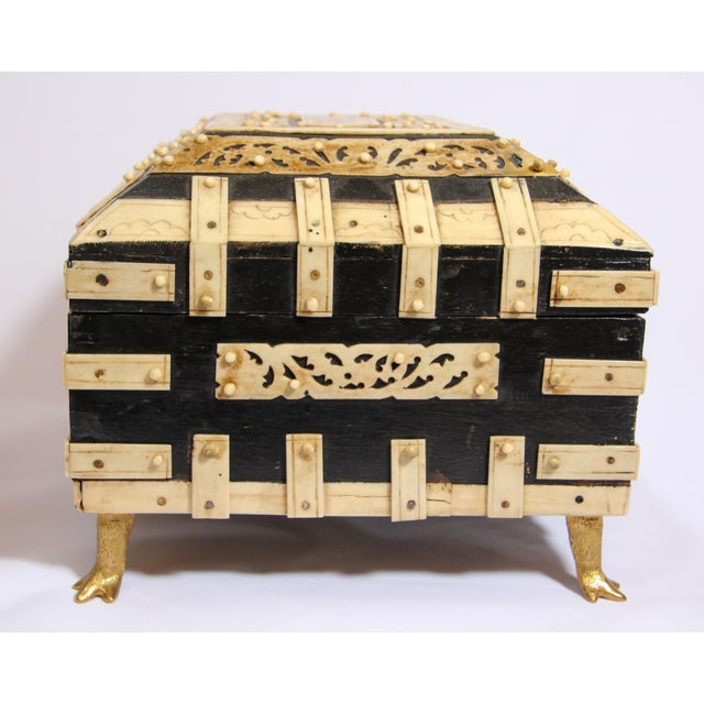 Large Decorative Anglo-Indian Vizagapatam Footed Box For Sale - Image 11 of 13