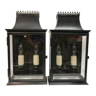 20th Century Regency Style Tole Lantern Wall Sconces Antiqued Brass - a Pair For Sale