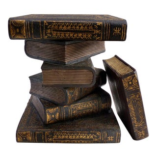 Maitland-Smith Carved Wood Faux-Books Side Table & Extra Book