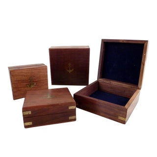 Birch Boxes With Brass Details - Set of 4 For Sale