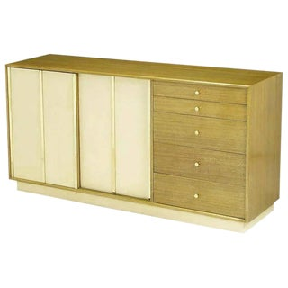 Harvey Probber Bleached Mahogany & Ivory Leather Dresser For Sale