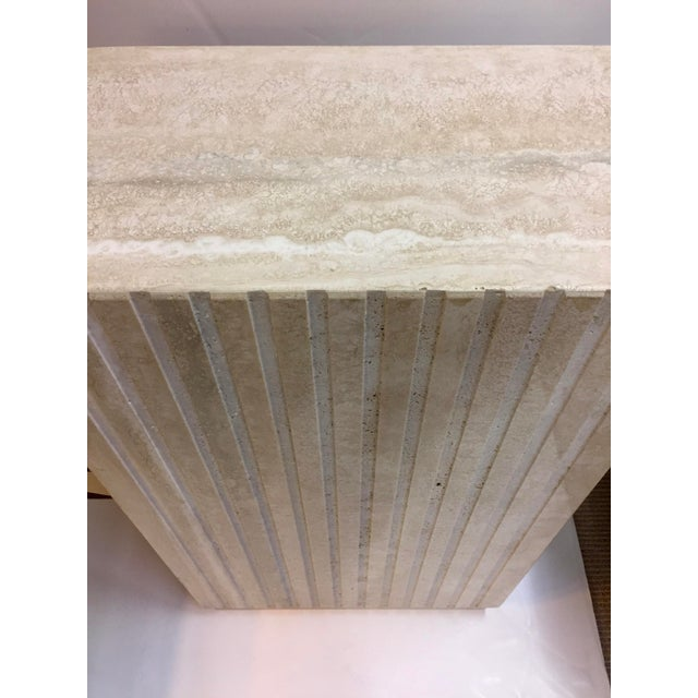 1980s Vertical Cut Travertine Console Pedestal For Sale - Image 5 of 10