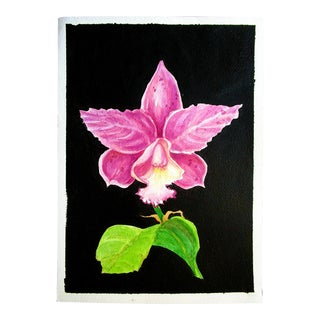 Contemporary Tropical Cattleya Orchid Botanic Watercolor Painting For Sale