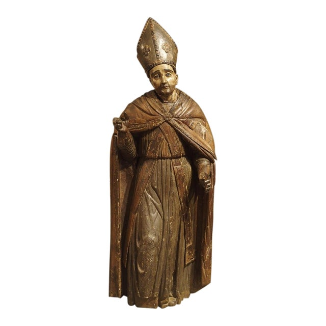 Large Antique Polychromed Wood Statue of a Bishop, Circa 1650 For Sale
