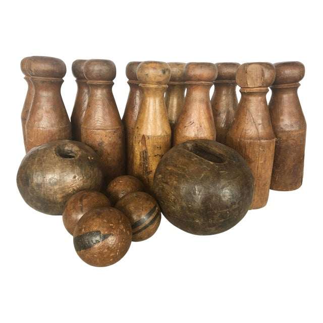 Antique English Skittles/Lawn Bowling Game Set For Sale