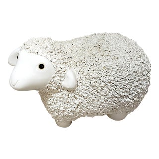 Vintage Italian Ceramic Lamb W. Textured Coat For Sale