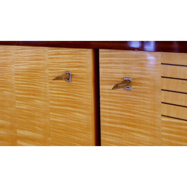 Late 20th Century Ameublement Nf Mahogany and Satinwood Credenza With Brass Hardware From France For Sale - Image 5 of 13