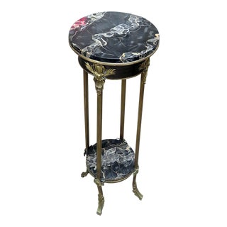 Napoleonic Style Bronze Mounted Marble Top Pedestal