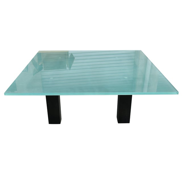New Italian Square Glass Top Coffee Table - Image 1 of 9