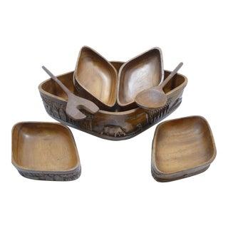 Vintage Carved Wood Salad Serving Bowls & Utensils - S/7